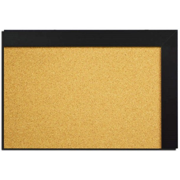 BLACK MDF framed cork pin board 90x120cm