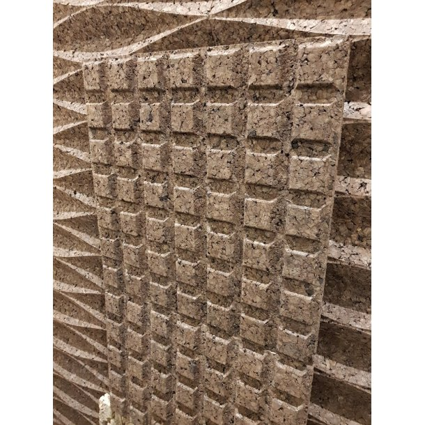 Decorative expanded 3D facade wall cork panel Choco - 25x480x480mm