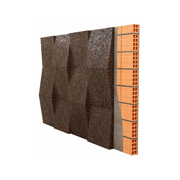 Decorative expanded 3D facade wall cork panel Taper - 20-50x500x500mm
