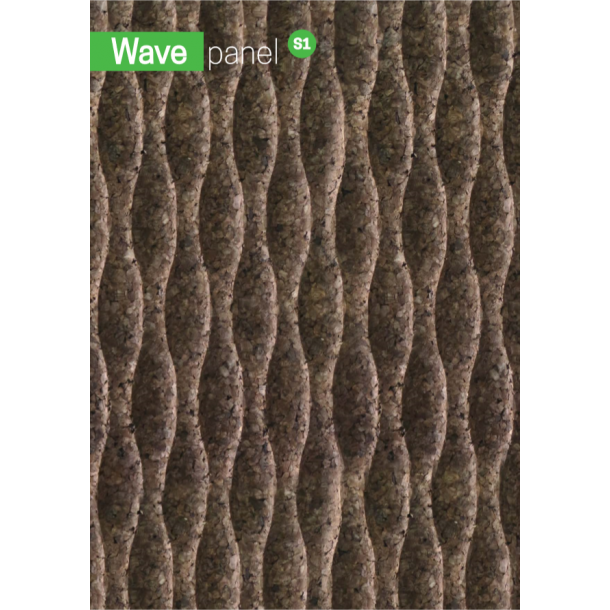 Decorative expanded 3D facade wall cork panel Wave S1 - 40x500x1000mm