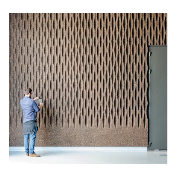 Decorative expanded 3D facade wall cork panel Wave L2 - 70x500x1000mm