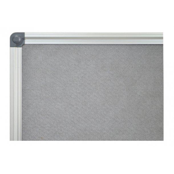 GREY textile notice board 90x120cm with an aluminium DecoLine frame