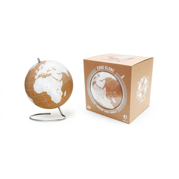 Large white natural cork globe 25cm - perfect for any globetrotter and travel enthusiast!
