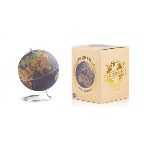 Small coloured natural cork globe 14cm - perfect for any globetrotter and travel enthusiast!