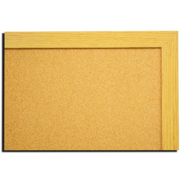 NATURAL OAK MDF framed cork pin board 50x80cm