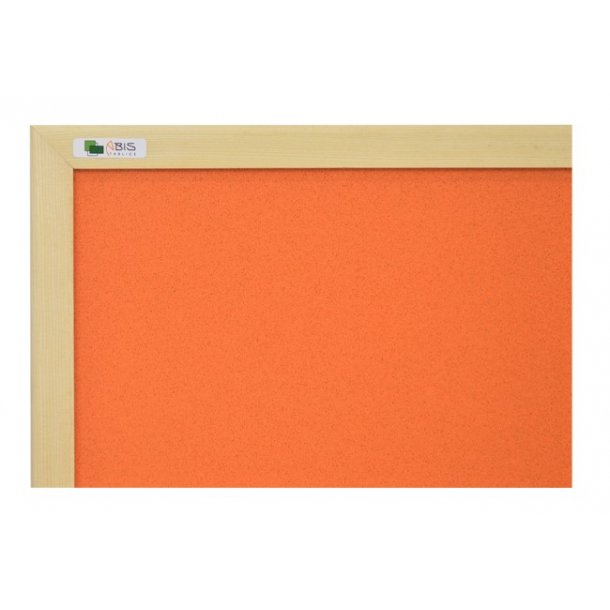 ORANGE cork board 90x120cm with a wooden frame