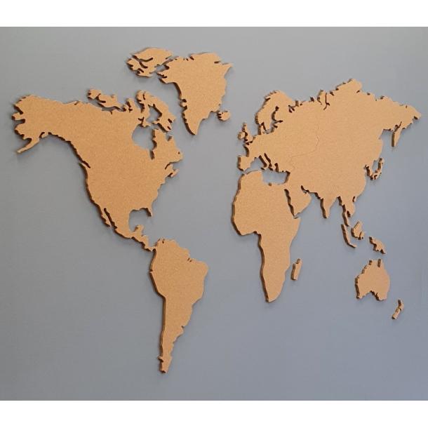 World map cork board 107x200cm