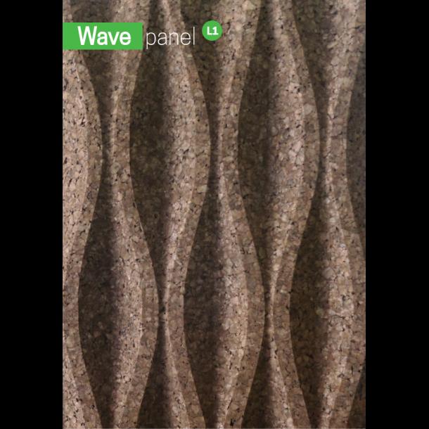 Korkfassade 3D Wandkork Wave L1 - 50x500x1000mm