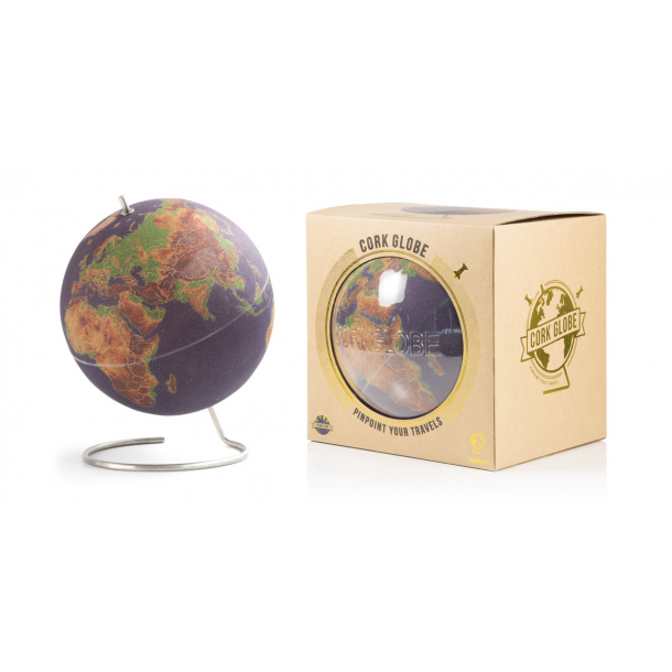 Large coloured natural cork globe 25cm - perfect for any globetrotter and travel enthusiast!