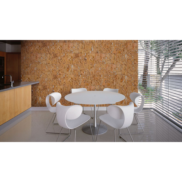 Decorative cork wall tiles FIORD WHITE 3x300x600mm - package 1,98 m2