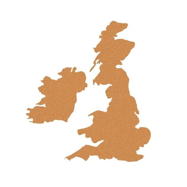 Self-adhesive cork map 50x80cm of the United Kingdom