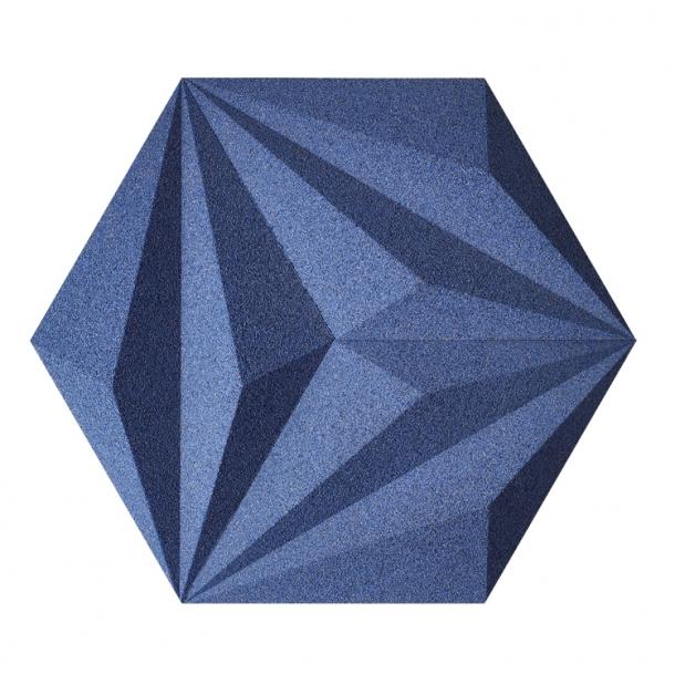 Unique and decorative BLUE cork wall tiles 3D LINES