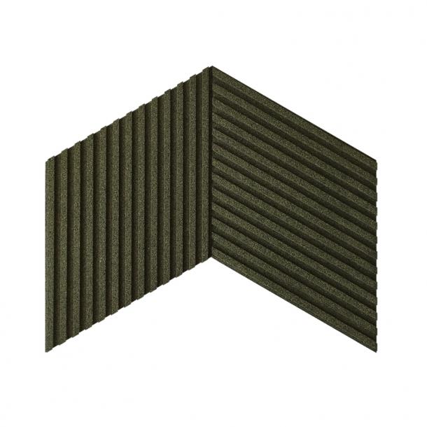 Unique and decorative DARK GREEN cork wall tiles 3D STRIPES
