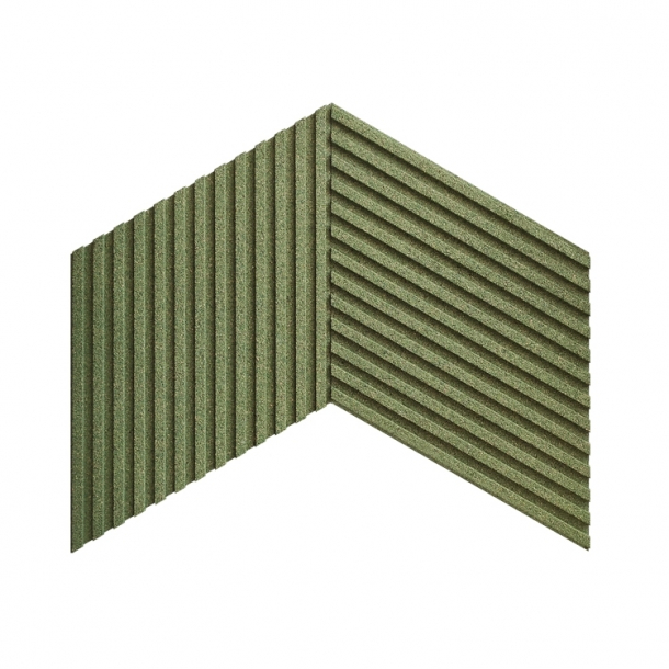 Unique and decorative GREEN cork wall tiles 3D STRIPES