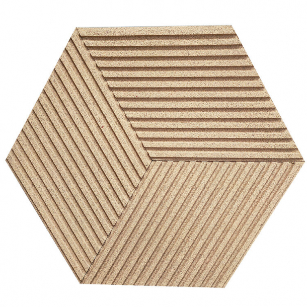 Unique and decorative IVORY (RAL 1015) cork wall tiles 3D STRIPES