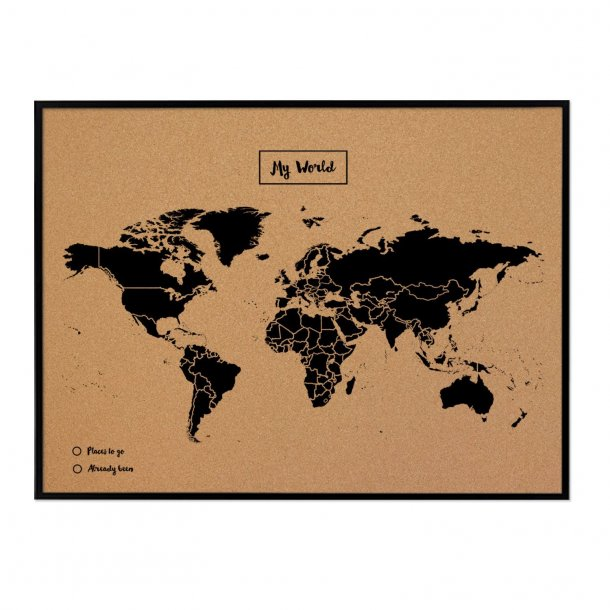 Black MDF framed world map cork board 60x90cm