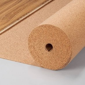 Cork underlayment for flooring