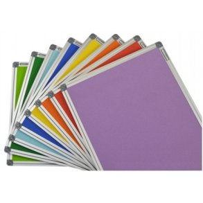 Colourful aluminium framed cork boards