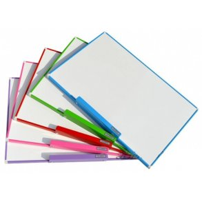 Magnetic whiteboards with a colourful aluminium frame