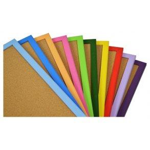 Coloured wood framed cork boards