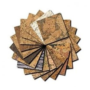 Decorative cork wall tiles