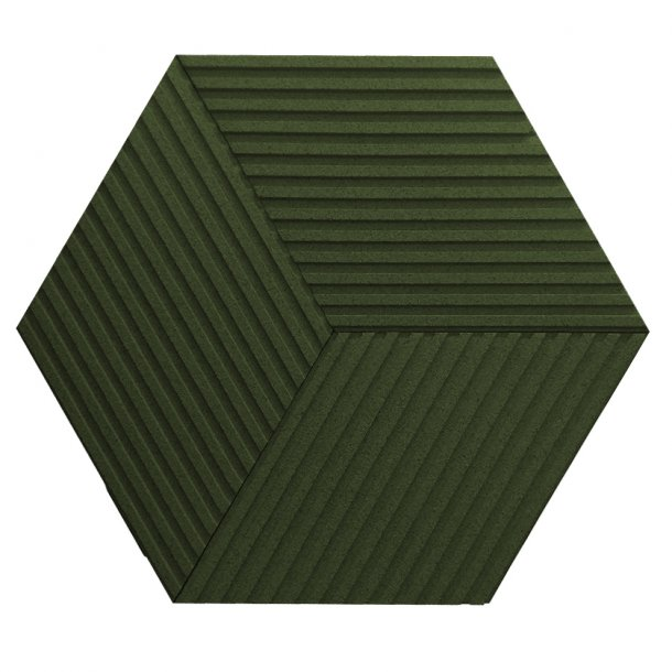 Unique and decorative DARK GREEN cork wall tiles 3D STRIPE