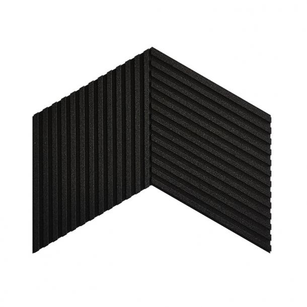 Unique and decorative BLACK (RAL 7021) cork wall tiles 3D STRIPES