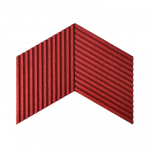 Unique and decorative RED cork wall tiles 3D STRIPES