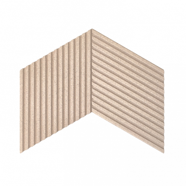 Unique and decorative WHITE (RAL 9001) cork wall tiles 3D STRIPES