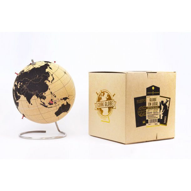 Small black natural cork globe 14cm - perfect for any globetrotter and travel enthusiast!