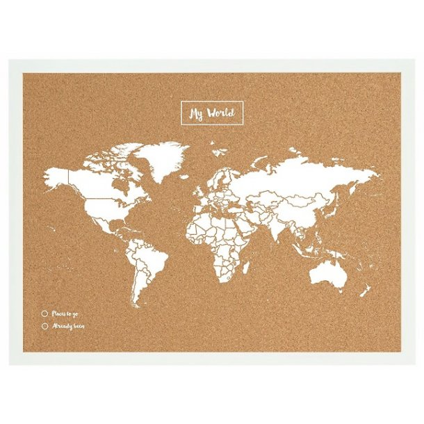 White MDF framed world map cork board 90 x 60 cm